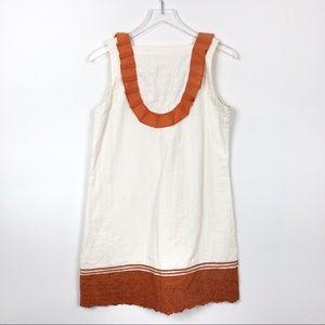 Anthropologie Embroidered Eyelet Cream Shift Dress